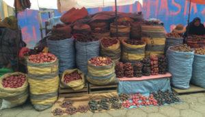 Potatoes at a market in La Paz, Bolivia.