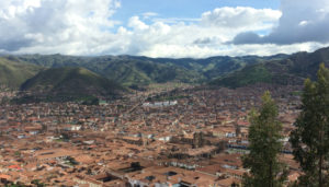 The city of Cusco, nestled among the Andes mountains.
