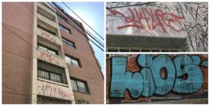 Three types of graffiti.