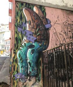 Very common type of street art in Valpraraíso.