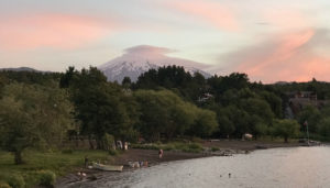 The view of Villarrica from Chilli Kiwi Hostel.