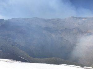 Villarrica's smokey crater.