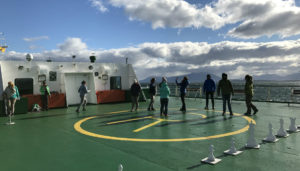 I played games with some new friends while I waited in the port for 8 hours due to high winds. We made our own fun!