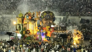 One of the many floats that were in the Sabo Parade at the Sombódromo in Rio.