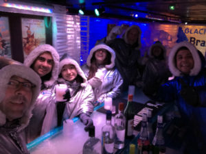 This is our group dressed up in these ridiculous coats. This bar was a little bit cold, but a lot of fun! Especially is you like alcohol!